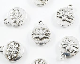 Silver Lotus Charm, 2 sided - 10 pieces (177S)