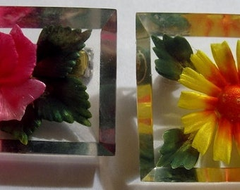 Free Ship Two Lucite Flower Brooches