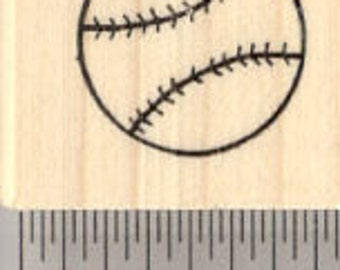 Baseball Rubber Stamp A27424 Wood Mounted