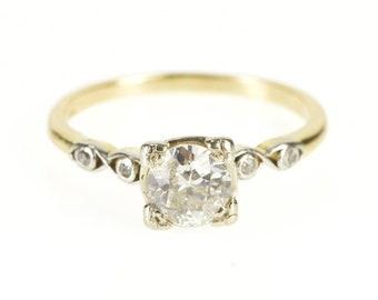 14K 0.90 Ornate Elaborate Diamond Engagement Ring Size 6 Yellow Gold