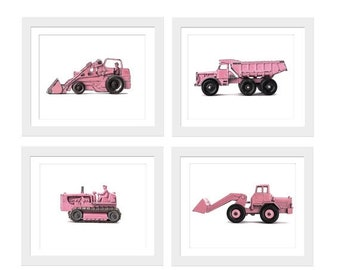 FLASH SALE til MIDNIGHT Set of Four Construction Digger Photo Prints in Pink on White Photo Prints, Girls Room decor, Pink Construction Truc