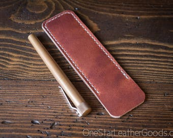Pen Sleeve size large - hand stitched Horween leather - cognac