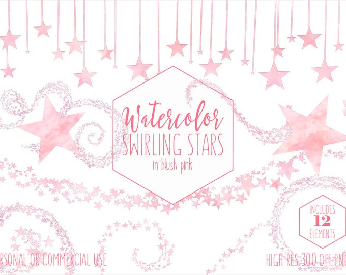 BLUSH PINK WATERCOLOR Stars Clipart Commercial Use Clip Art Celestial Sky Baby Pink Swirling Star Trails Borders & Confetti Digital Graphics