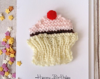 Cupcake birthday card, cake magnet card, card for girlfriend, card for wife, card for daughter, blank greetings card, unique birthday card