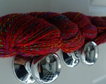 Red 'n' Rainbow Wool/Silk Re-plied Yarn