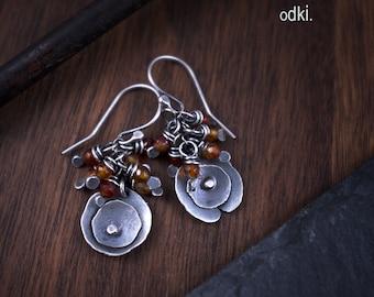 Raw Sterling Silver Earrings - Carnelian Cluster Earrings - Oxidized Silver Roses Earrings - 925 Artisan Earrings - Rustic Silver - odki