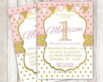 Pink and Gold First Birthday Invitation Girl First Birthday Invite Pink and Gold Birthday Gold Glitter Invite Printable Invitation BRPG14