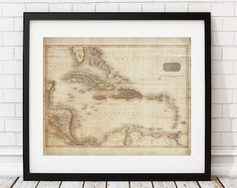West Indies Map Print, Vintage Map Art, Antique Map Wall Decor, Wall Art, History Gift, Bahamas, Haiti, Jamaica, Puerto Rico, Map Poster