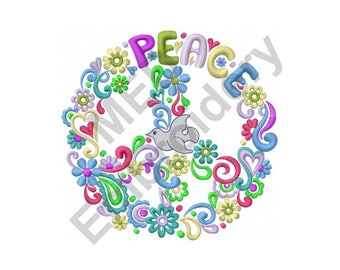 Flowers - Machine Embroidery Design, Peace Flowers