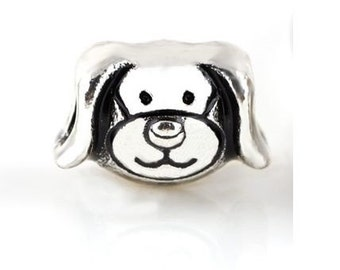 1 Silver Puppy Dog Bead Charm Beads For European Charm Bracelets - 11X