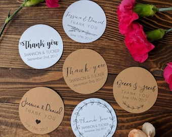 STICKERS! Custom Wedding Stickers, personalized wedding stickers, thank you stickers, white or Kraft brown, multiple sizes