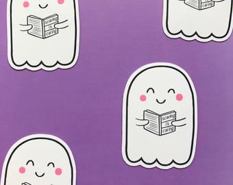 Reading Ghost Gloss Sticker | Kawaii Cute Halloween Stickers