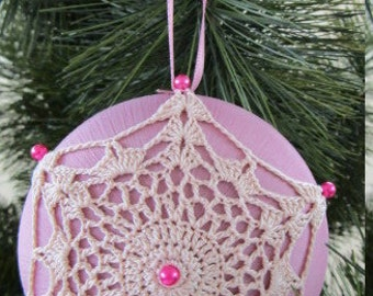 Ornament, Mauve Satin Ball Adorned with Crochet Motif, Pins, Ribbon