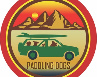 Vintage Paddling Dogs decal - High Grade Air release multi-color Vinyl