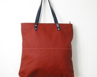 LEATHER TOTE BAG - Leather Tote - Shoulder Bag - Handmade Leather Tote Bag - Large Leather Bag - Top Zip Red Leather Bag