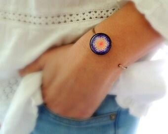 Talisman Bracelet MELODY of LIFE MANDALA Cuff Bracelet Purple Mandala Jewelry with Meaning Flower of Life Bracelet Healing Jewelry
