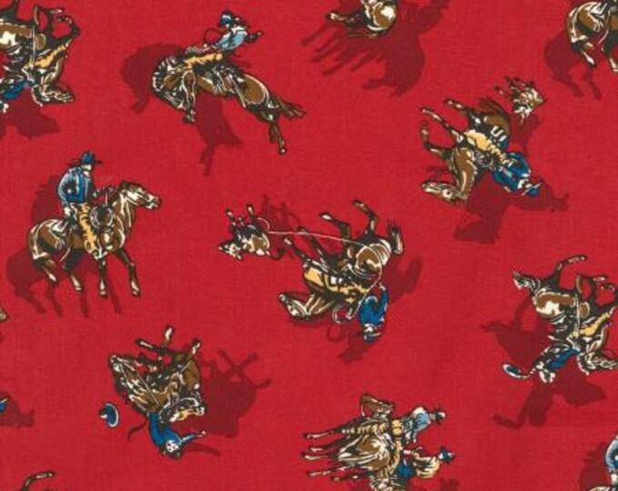 Red Cowboy Western Fabric,  Ride 'em Cowboy by Robert Kaufman