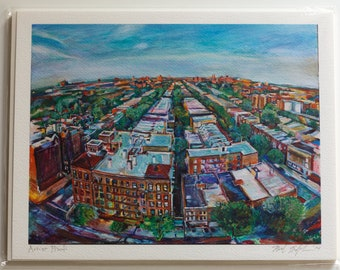 Overhead view of buildings, streets, and trees in Prospect Lefferts Gardens in Flatbush Brooklyn, New York