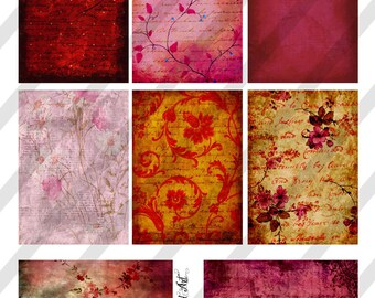 Digital Collage Sheet Vintage Shades of Pink Background Images (Sheet no. O73) Instant Download
