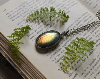 DRAGON'S EYE- shiny LABRADORITE necklace,amazing stone necklace,amazing amulet,Old Warrior's Stone necklace,balance pendant,zokakurylov