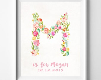 Custom Name Print, Initial Poster, Decor Idea, Arty, Pretty Initial, Initial Art, Maria, Madison, Megan, Mariah, Is for, Fathers Day Gift