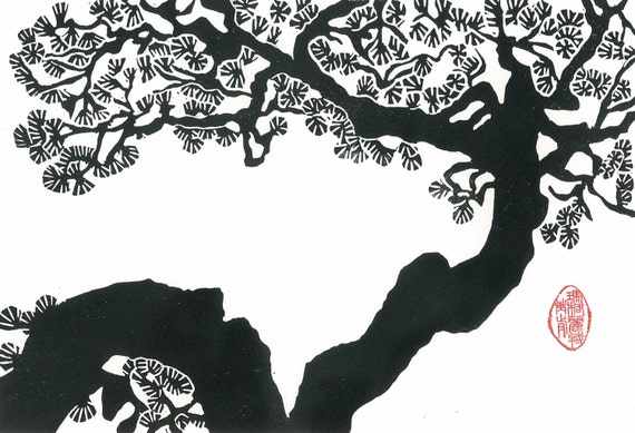 Linocut print twisted pine black and white japanese style
