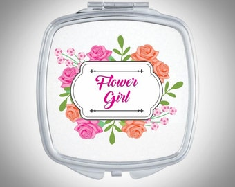 Personalized Compact Mirror -  Rose Pattern - Personalized Bridesmaid Gift - Wedding Favor - Custom Gift, Personalized Gift - Gift for Her