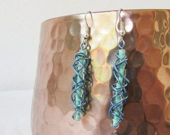 CLEARANCE Blue wire earrings, wire wrapped day earrings with pale aqua blue seed beads, silver plated earring wires, handmade in the UK