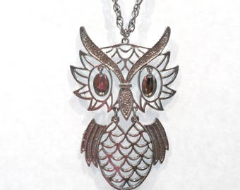 Silver Articulated Owl Pendant Necklace Silver Tone Owl Pendant Statement Necklace Owl Jewelry Mod 1960s 1970s style Boho Style Necklace