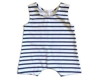 Short Stripe Romper | summer romper, harem romper, baby onesie, solid romper
