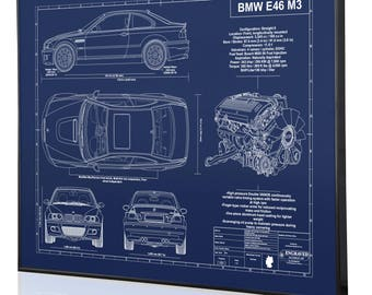 Bmw e9 30 cs laser engraved wall art poster blueprint sign bmw e46 m3 laser engraved wall art poster blueprint sign artwork to make the best auto gifts ultimate decor for the garage or office malvernweather Choice Image