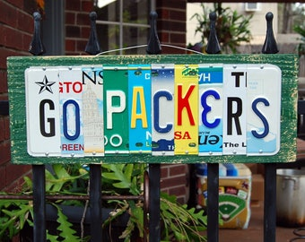 GO PACKERS, Green Bay Packers football license plate sign