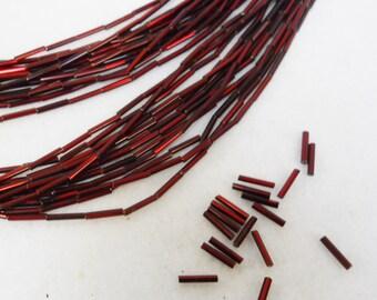 Czech Glass Bugle Beads #5 Dark Red Silver Lined, 1 hank