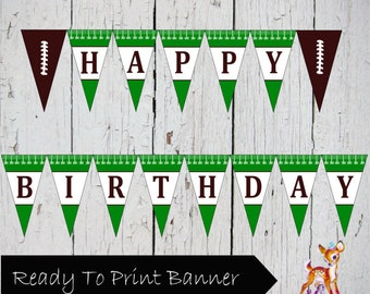 Instant Download Printable Football Happy Birthday Banner pennant Flag Bunting Sign