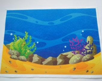 фетр с рисунком море