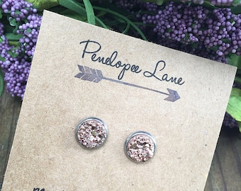 8 mm  Chunky Faux Druzy Glitter Stainless Steel Hypoallergenic Earrings Bridesmaids Gifts Wedding Party Jewelry