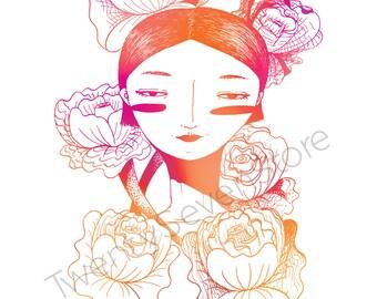 Flower Girl illustration art l Portrait print l Colorful Gradient l Home decor l Pink blue purple l Gift l Wall art l Pen drawing