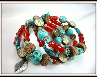 Southwestern Cuff Bracelet,  Memory Wire Cuff,  Red Agate, Turquoise Magnesite, Howlite Skulls, Silver Leaves