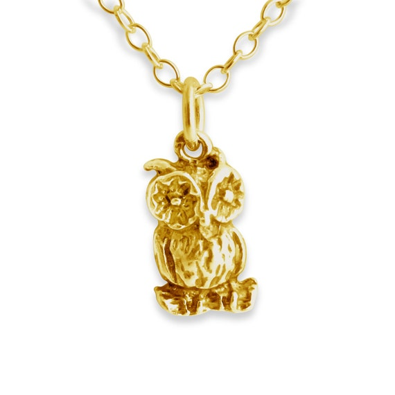 Wise Old Owl Night Bird Nocturnal Animal Symbol of Wisdom Charm Pendant Necklace #14K Gold Plated over 925 Sterling Silver #Azaggi N0378G