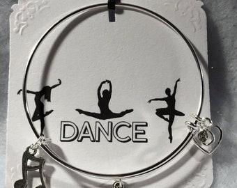 Dance Theme Wired Bangle Charm Bracelet Free Shipping