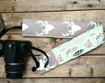 Padded DSLR camera strap cover, reversible padded camera strap cover, slip on strap cover in deer buck sweet country