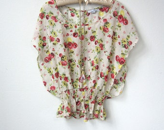Romantic Bohemian Vintage Sheer Floral Rose Bat Sleeve, Bat Wing Beige Blouse, with Victorian Red and Yellow Roses