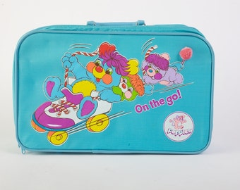 Vintage 1980s Bright Turquoise Popples On The Go Suitcase/Overnight Bag