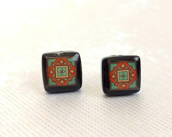 Black Onyx and Sterling Silver Post Earrings, Green & Brick Red Spanish, Mexican, Catalina and Mediterranean Tile Inspired Wanderluster