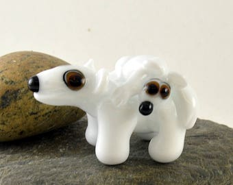 POLAR Bear Mum and Baby, Lampwork Glass Sculpture Collectible, Focal Bead, Izzybeads SRA