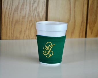 Monogrammed Coffee cup cozy Cap caddy Embroidered coffee cup sleeve Custom coffee sleeve Personal coffee sleeve Cloth cup cozy Teacher gift