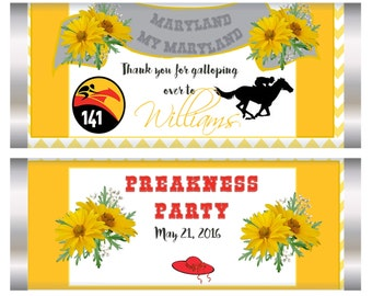 Preakness Candy Bar Wrapper, Preakness Party Favor, Preakness favors, horse racing favors, Preakness 2018, preakness favors. Set of 20.