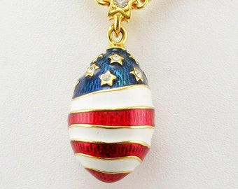 "Joan Rivers Patriotic Egg Necklace   30"""