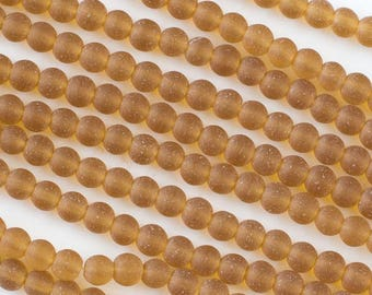 Matte Topaz Sea Glass 4mm Round Beads - 16 inch strand