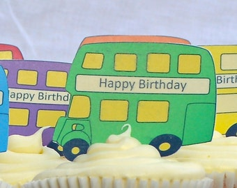 Edible GREEN London Double Decker Buses x 15 - Routemaster - Personalise Wafers Rice Paper Cake Cupcake Biscuit Toppers Party Decoration